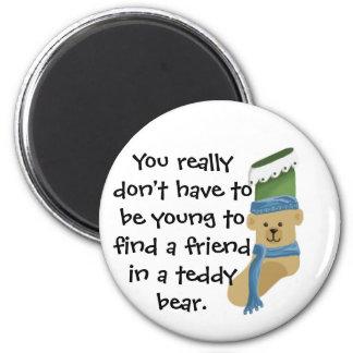 Media del oso de peluche imán redondo 5 cm