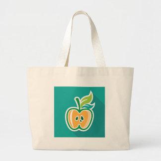 Media diseño aislado de la manzana base bolsa tela grande