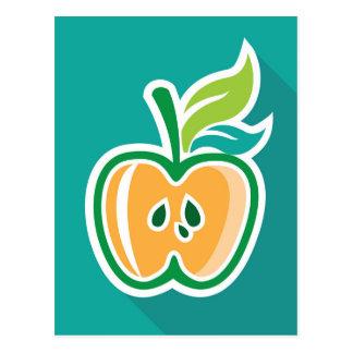 Media diseño aislado de la manzana base tarjeta postal