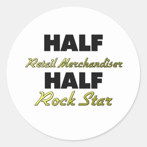 Media estrella del rock de la media expendidora pegatina redonda