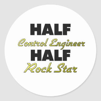 Media estrella del rock del ingeniero de control pegatina redonda