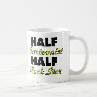 Media estrella del rock del medio dibujante taza básica blanca