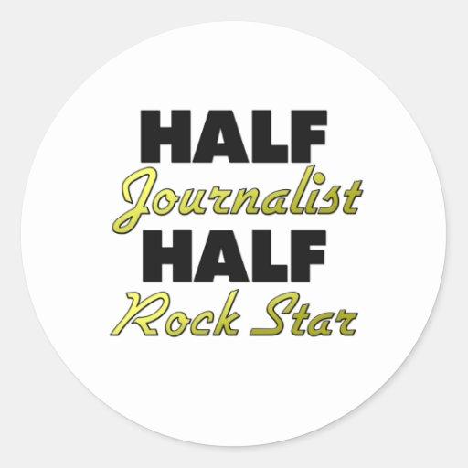 Media estrella del rock del medio periodista pegatina redonda