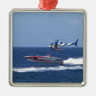 Media Helicopter Metal Ornament