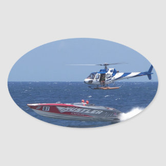 Media Helicopter Oval Sticker