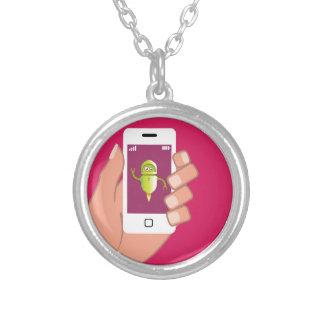 Media Helper Robot Phone App Round Pendant Necklace
