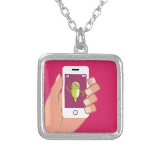 Media Helper Robot Phone App Square Pendant Necklace