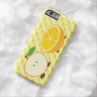 Media manzana sonriente y medio naranja funda de iPhone 6 barely there