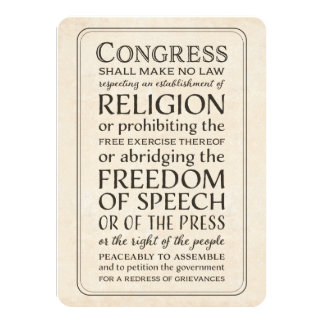 Media or Press Event - First Amendment Text Card