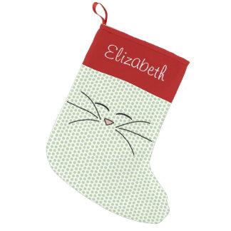 Media personalizada cara del gatito bota navideña pequeña