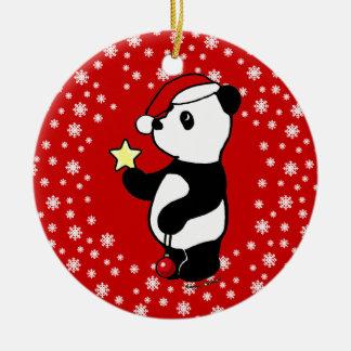 Media personalizada de la panda del navidad adorno navideño redondo de cerámica