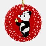 Media personalizada de la panda del navidad adorno redondo de cerámica