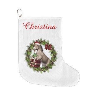 Media personalizada Santa del burro del navidad Calcetín De Navidad Grande