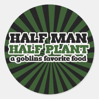 Media planta del medio hombre una comida del favor pegatinas