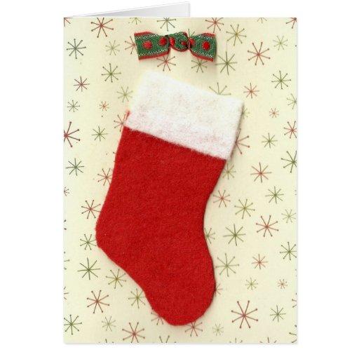 Media roja del navidad tarjeta de felicitación