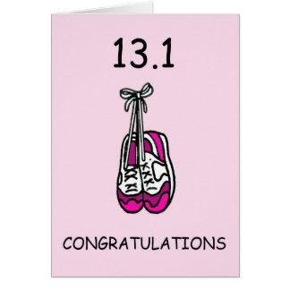 Media señora del maratón, enhorabuena tarjeta de felicitación