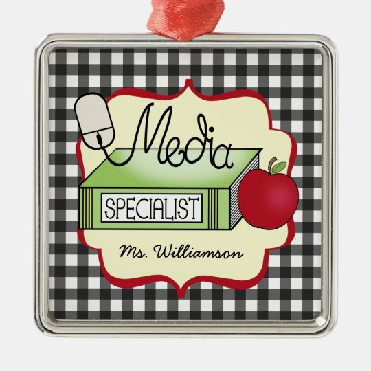 Media Specialist Book Apple & Computer Mouse Metal Ornament