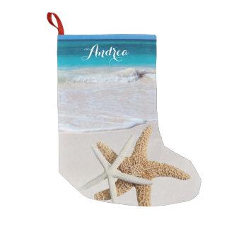 Media tropical de las estrellas de mar de la playa calcetín de navidad pequeño