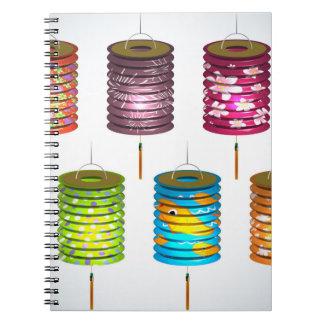 Mediados de festival del otoño - linterna de papel libro de apuntes con espiral
