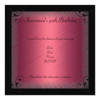 Mediados de fiesta de cumpleaños floral negra invitación 13,3 cm x 13,3cm
