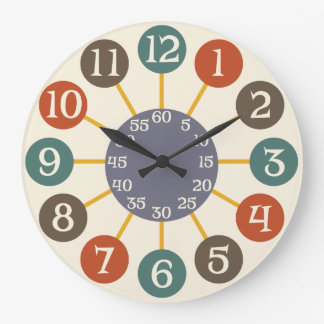 mediados de siglo atómicos retros de 50s Starburst Reloj Redondo Grande