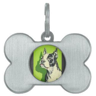 Mediados de siglo dulces estupendos Boston Terrier Placa Mascota