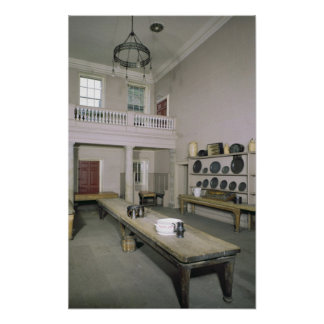 Mediados del siglo XVIII del interior de la cocina Póster