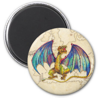 Mediaeval Wyvern 2 Inch Round Magnet