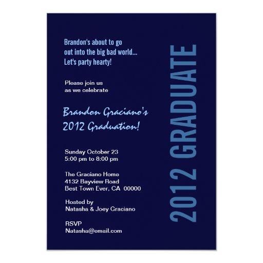"""Medianoche 2012 de la fiesta de graduación y invitación 5"""" x 7"""""""
