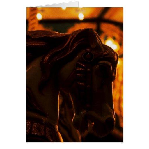 Medianoche del caballo del carrusel de las noches  tarjetón