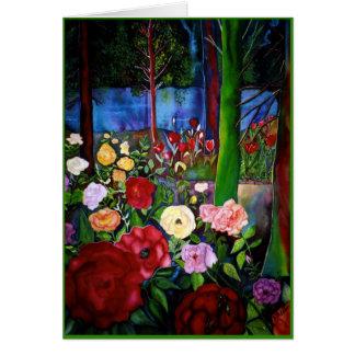 Medianoche en el jardín tarjeta de felicitación