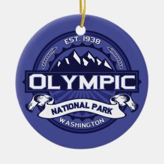 Medianoche olímpica adorno navideño redondo de cerámica