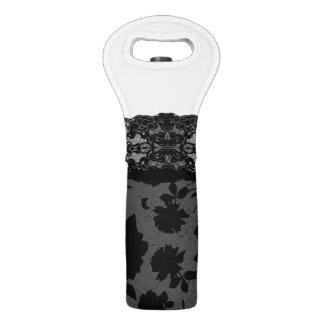 Medias color de rosa negras elegantes del cordón bolsas para botella de vino