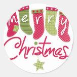 Medias de las Felices Navidad Etiqueta Redonda