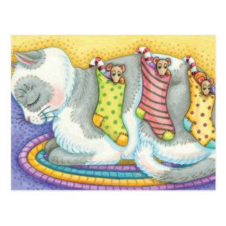 Medias del navidad del gato del gatito tarjeta postal