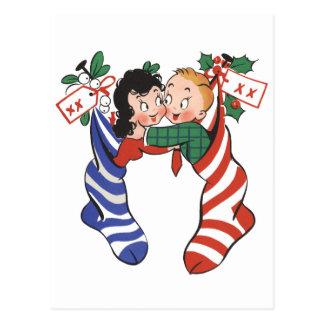 Medias del navidad del vintage con los niños postales