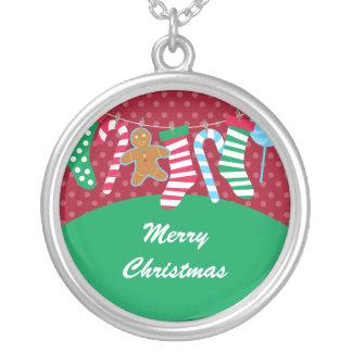 Medias lindas y coloridas del navidad collar personalizado