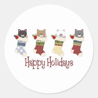 Medias queridas del gato del navidad pegatinas