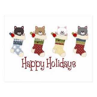 Medias queridas del gato del navidad postal