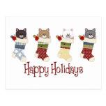 Medias queridas del gato del navidad tarjeta postal