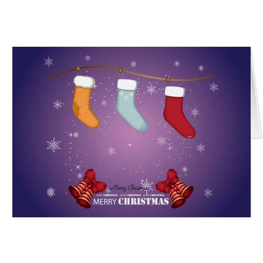 Medias y Belces de las Felices Navidad Tarjeta De Felicitación