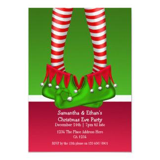 """Medias y botas del duende de la fiesta de Navidad Invitación 5"""" X 7"""""""