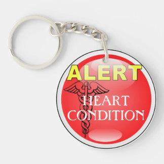 Medic Alert Emergency Keychain- Heart Condition Double-Sided Round Acrylic Keychain