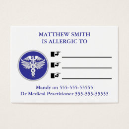 Medic alert kids allergies | Personalize Business Card