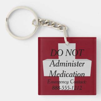 Medic Alert NO MEDS Keychain