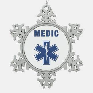 Medic EMS Snowflake Pewter Christmas Ornament