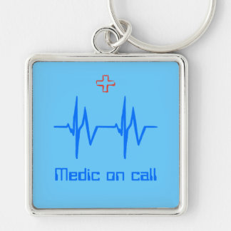 Medic on Call with ecg trace and red cross Keychain