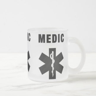 Medic Star of Life 10 Oz Frosted Glass Coffee Mug