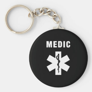 Medic Star of Life Basic Round Button Keychain