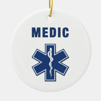 Medic Star of Life Double-Sided Ceramic Round Christmas Ornament